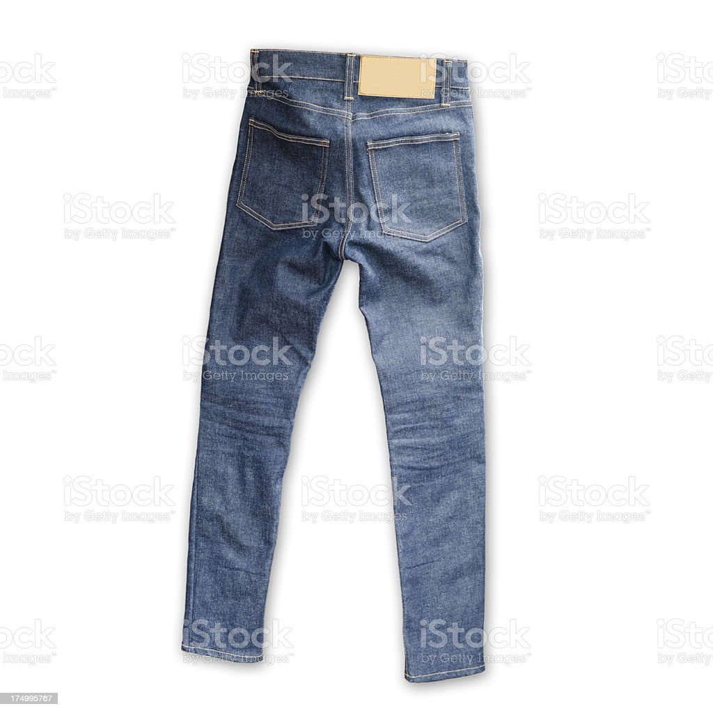 Skinny Tight  Blue Jeans  on white background royalty-free stock photo