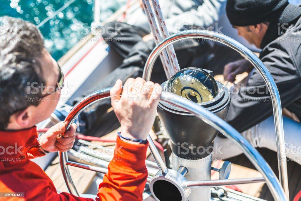 Skipper Helm Boat stock photo