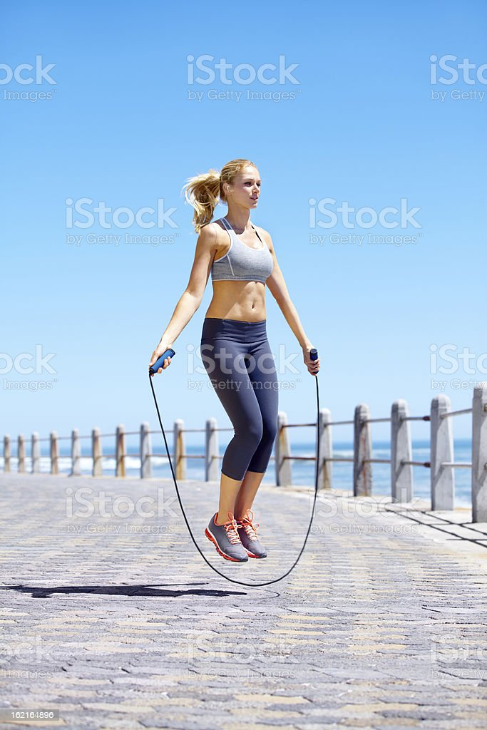 Skipping is a great full body work out stock photo