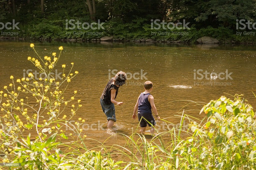 Skipping stones royalty-free stock photo