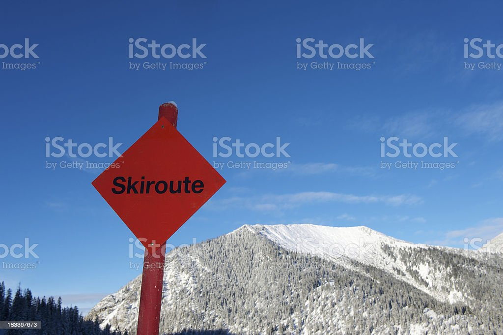 Skiroute sign in the alps stock photo