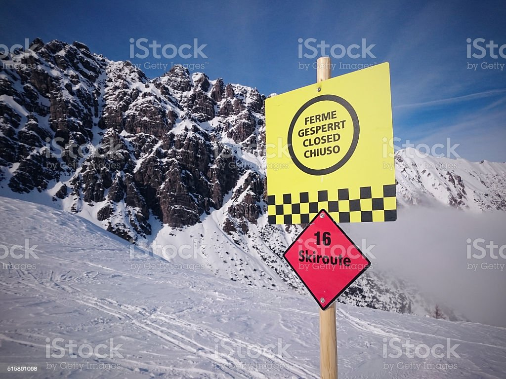 skiroute sign stock photo