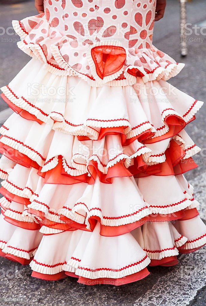 falda de gitanas para la feria tipicas en  Andalucia stock photo