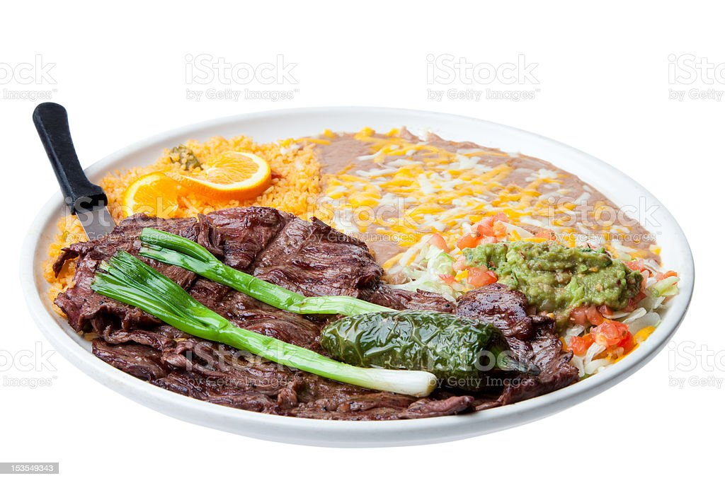 Skirt Steak dinner, Mexican style. royalty-free stock photo