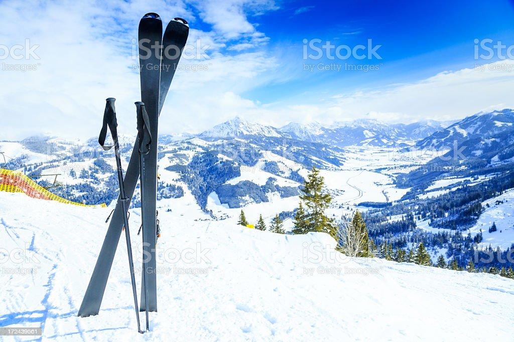 skis and ski poles royalty-free stock photo