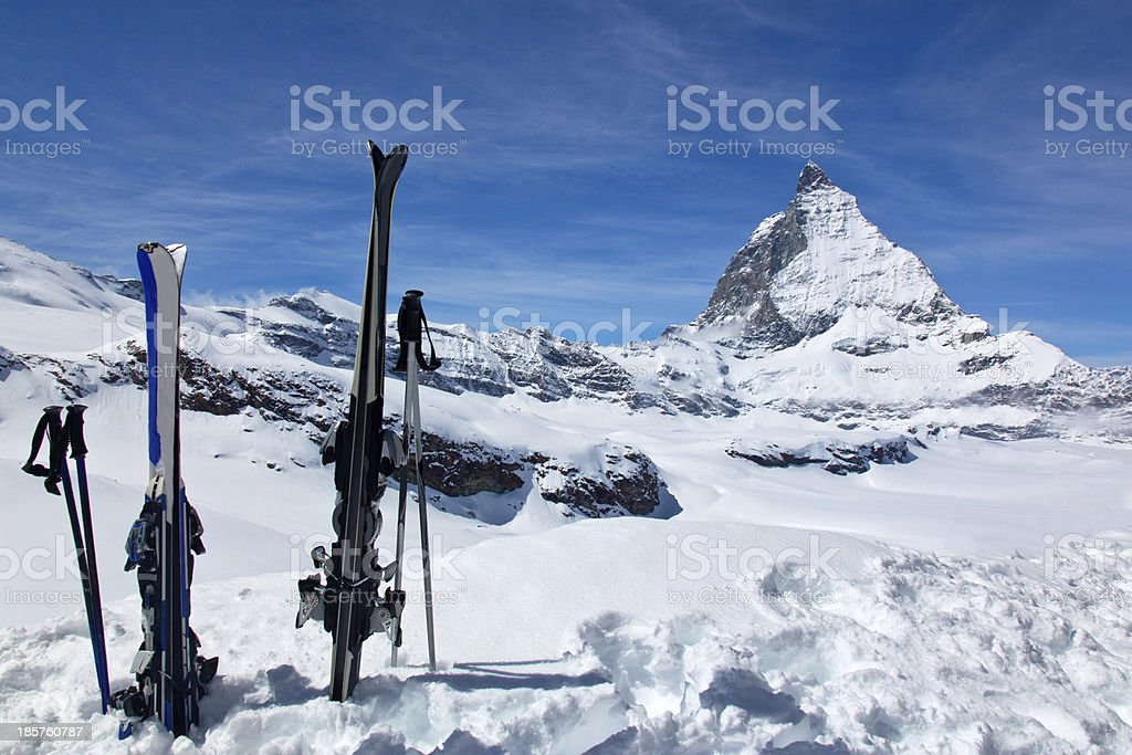 Skis and the Matterhorn royalty-free stock photo