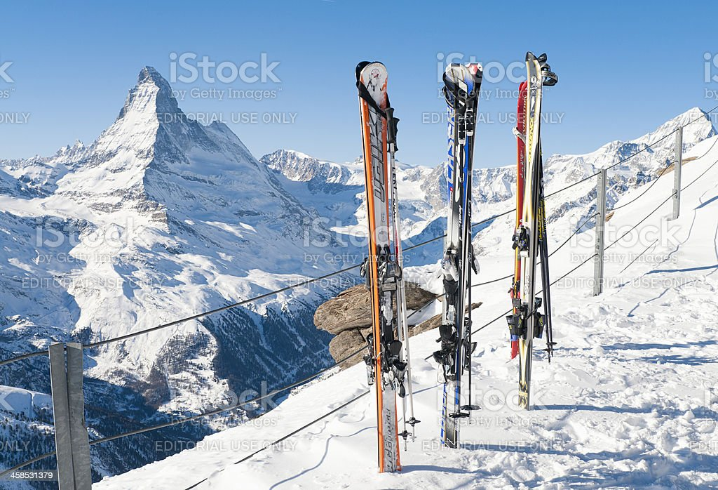 Skis and View of the Matterhorn stock photo