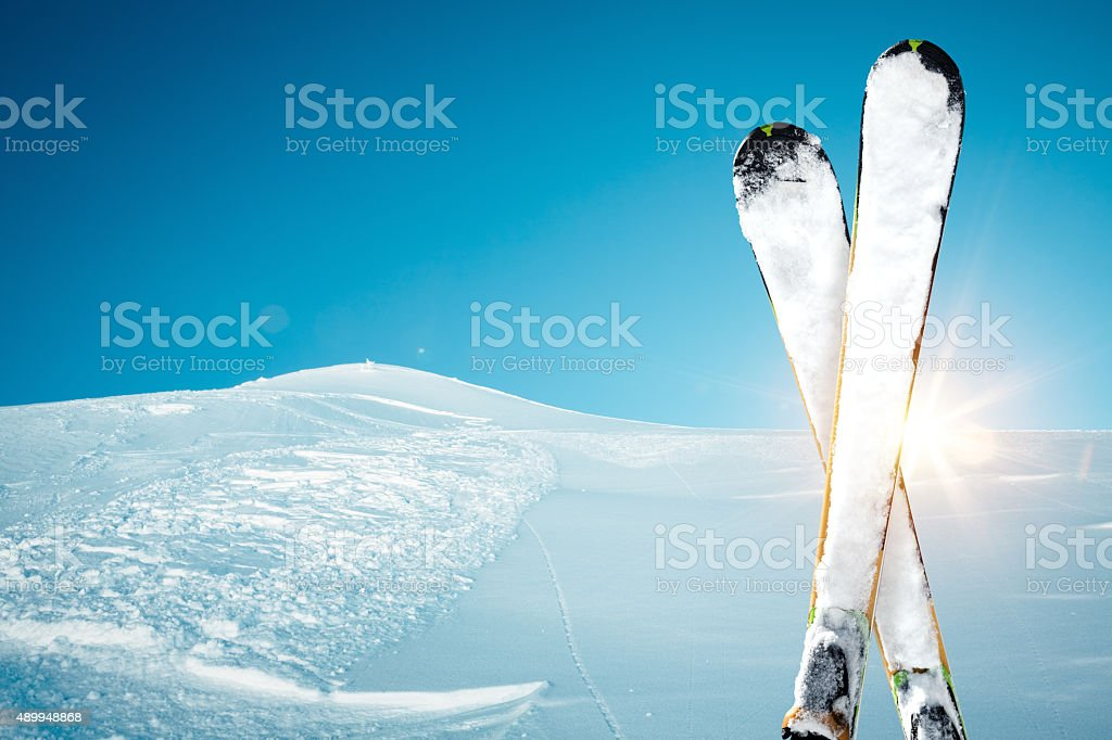 Skis In The Snow stock photo