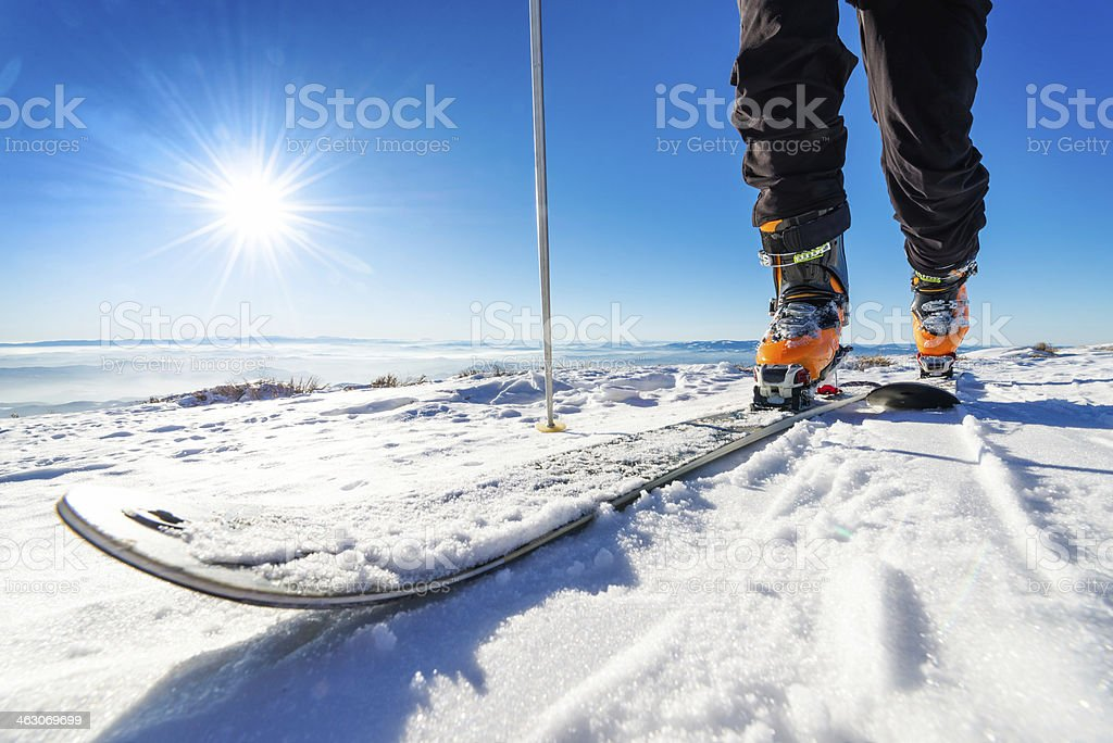 Skis on the snow stock photo