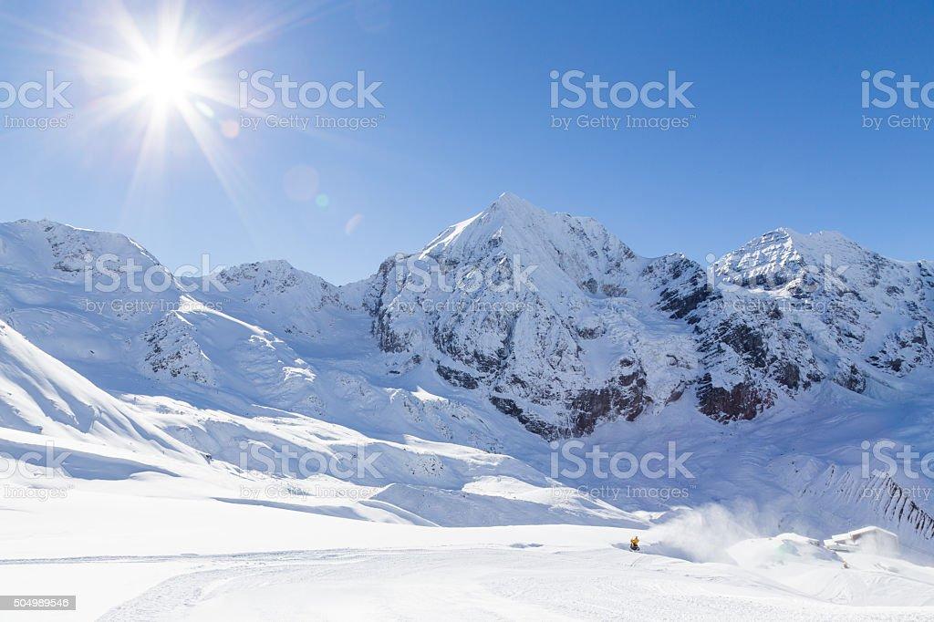 Ski-slope in the italian alps (Sulden/Solda) with Ortler in background stock photo