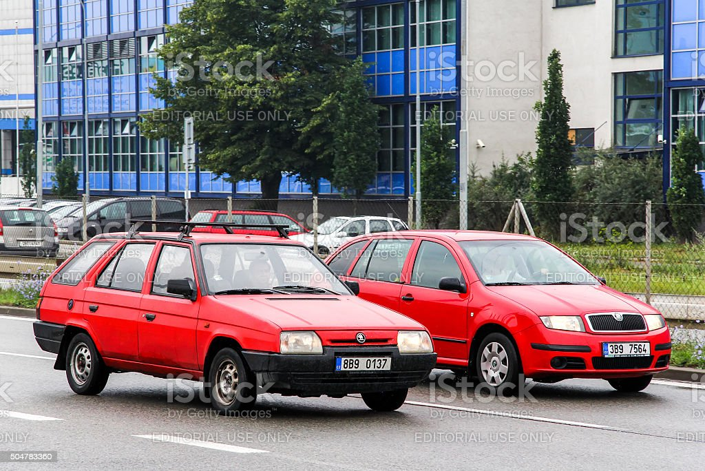 Skoda Felicia and Skoda Fabia stock photo