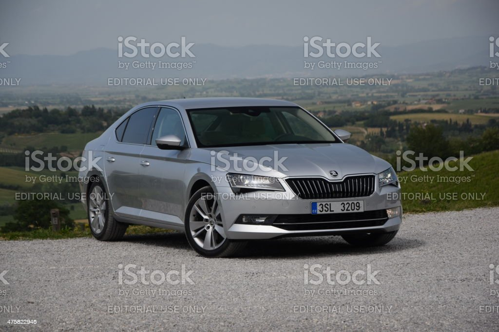 Skoda Superb on the road stock photo