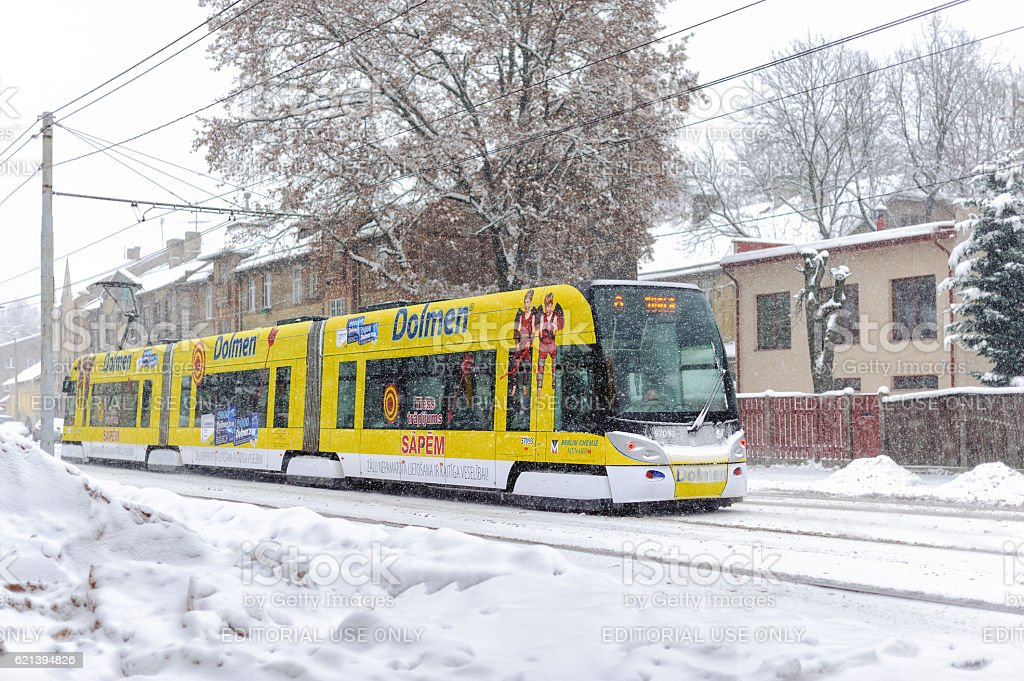 Skoda  Tram at winter street of Riga town, Latvia stock photo