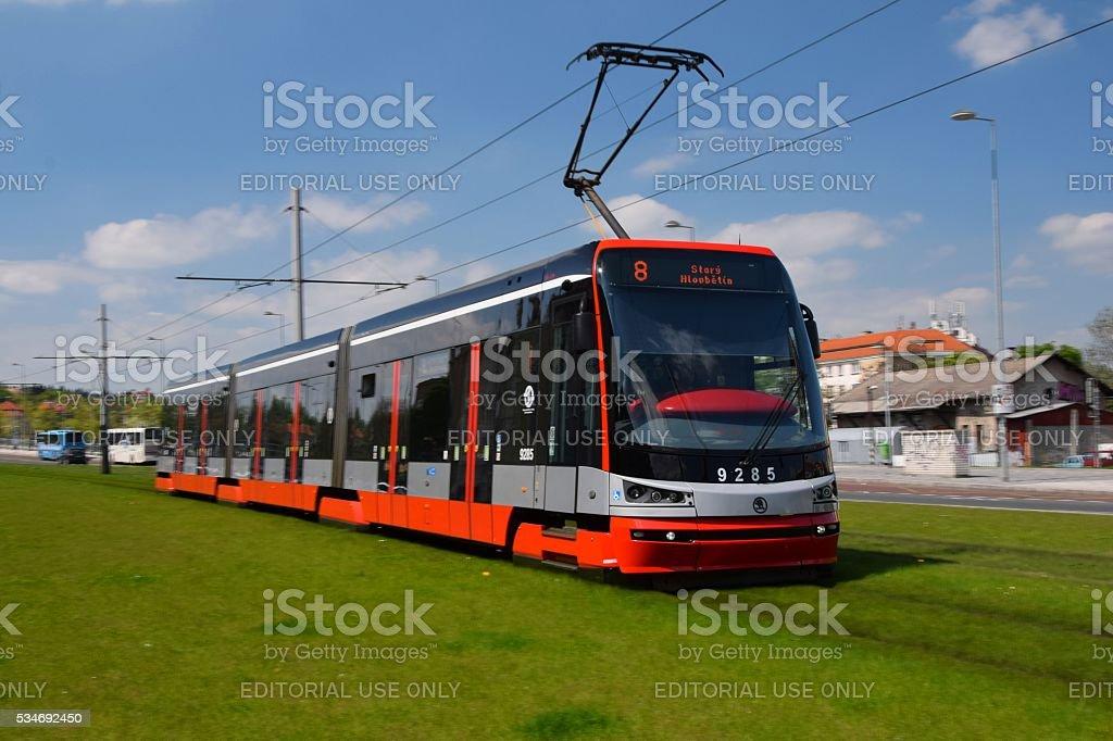 Skoda tram driving in the centre of Prague stock photo