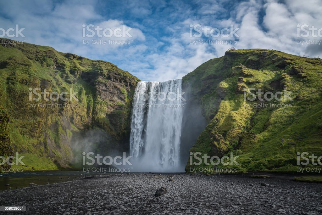 Skogafoss a famous waterfall in Iceland stock photo