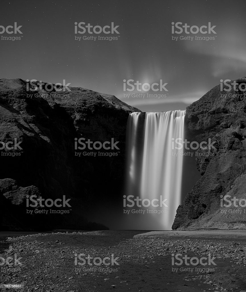 Skogafoss at night... stock photo