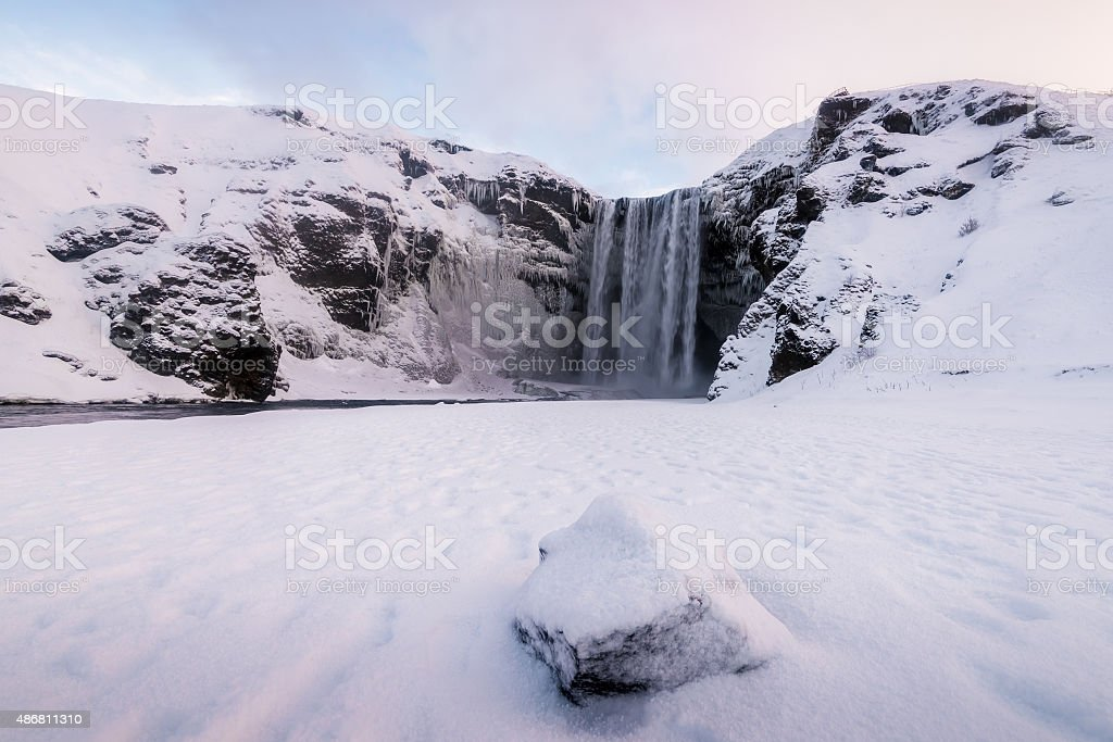 Skogafoss, the great and beautiful waterfall in Iceland during winter stock photo