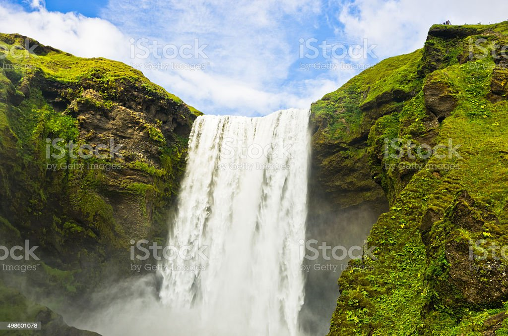 Skogafoss waterfall 200 feets high is  the highest waterfall in Iceland stock photo
