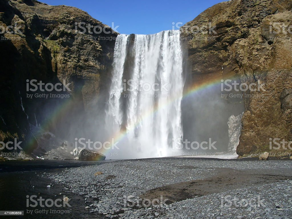 Skogafoss Waterfall And Double Rainbow royalty-free stock photo