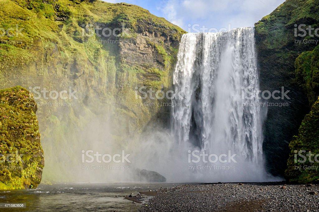 Skogafoss waterfall in Iceland in summer stock photo