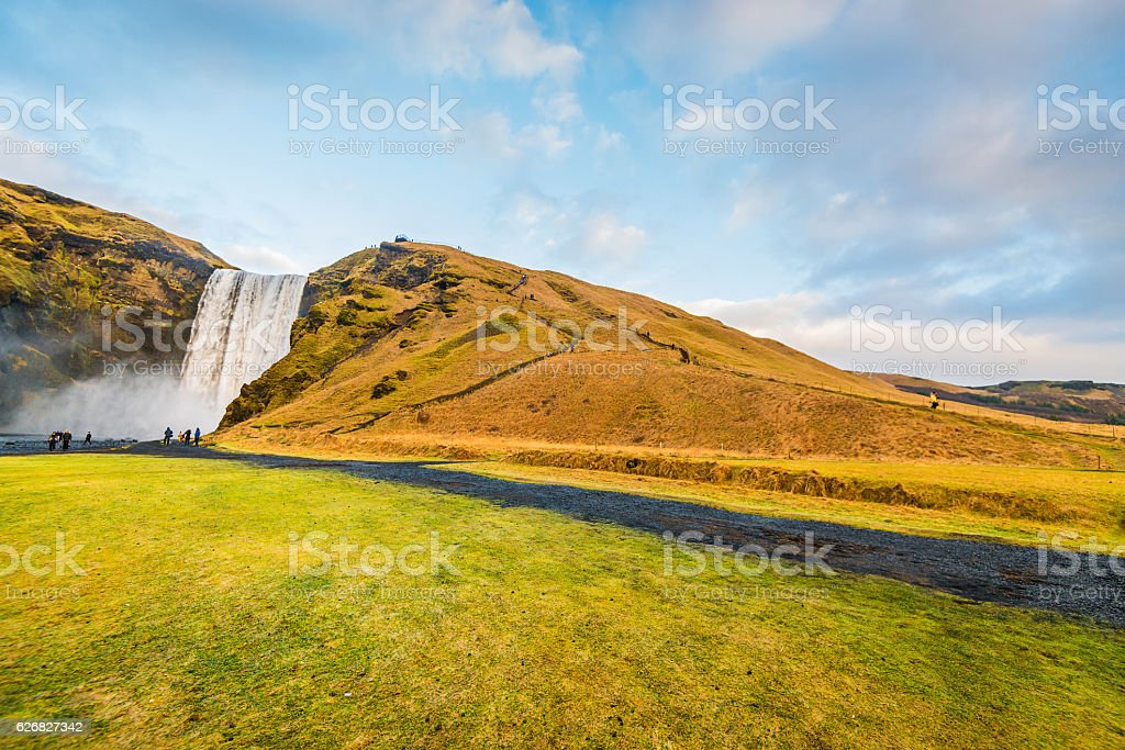 Skogafoss waterfall in Iceland, near Vik stock photo