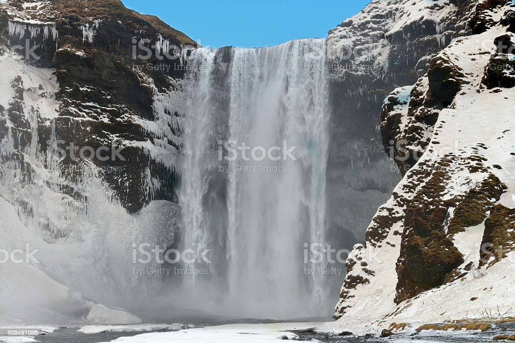 Skogafoss Waterfall in Iceland stock photo