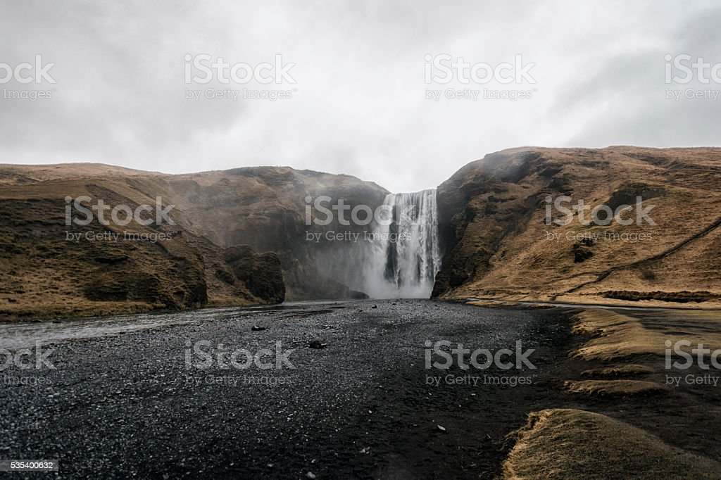 Skogafoss waterfall in Southern Iceland stock photo