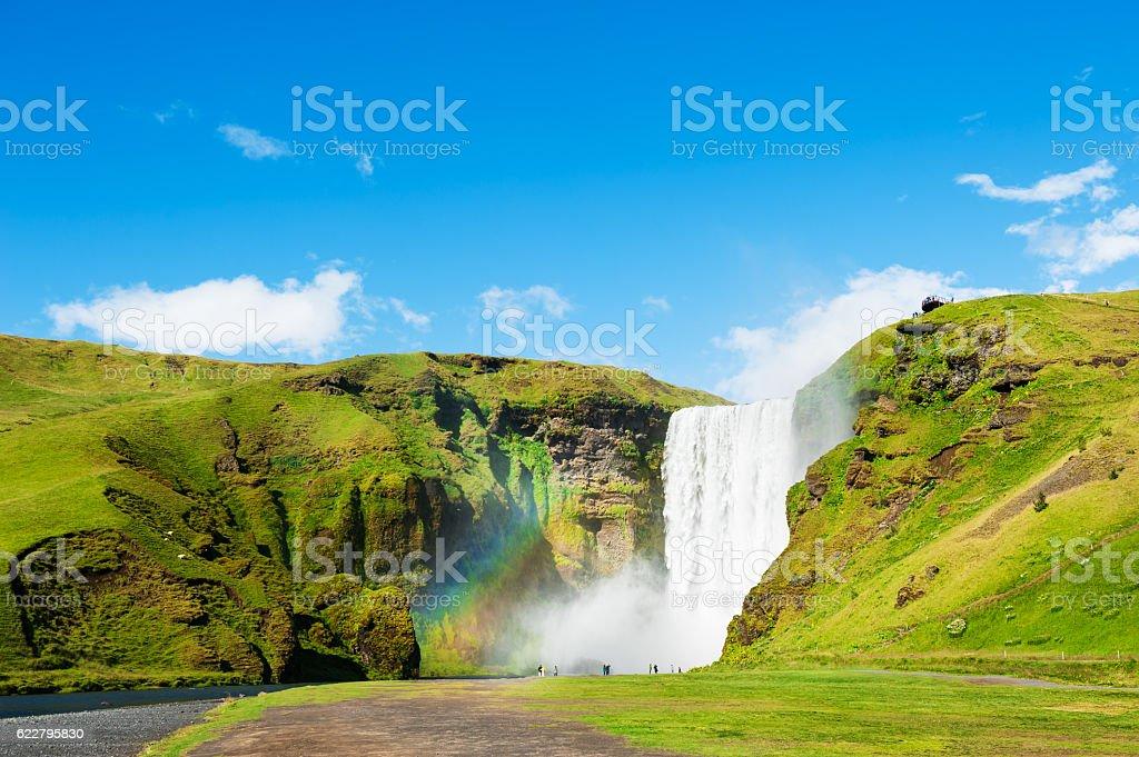 Skogafoss waterfall, southern Iceland. stock photo