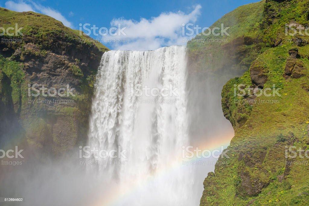 Skogafoss waterfall with double rainbow. Iceland. stock photo
