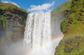 Skogafoss waterfall with double rainbow. Iceland.