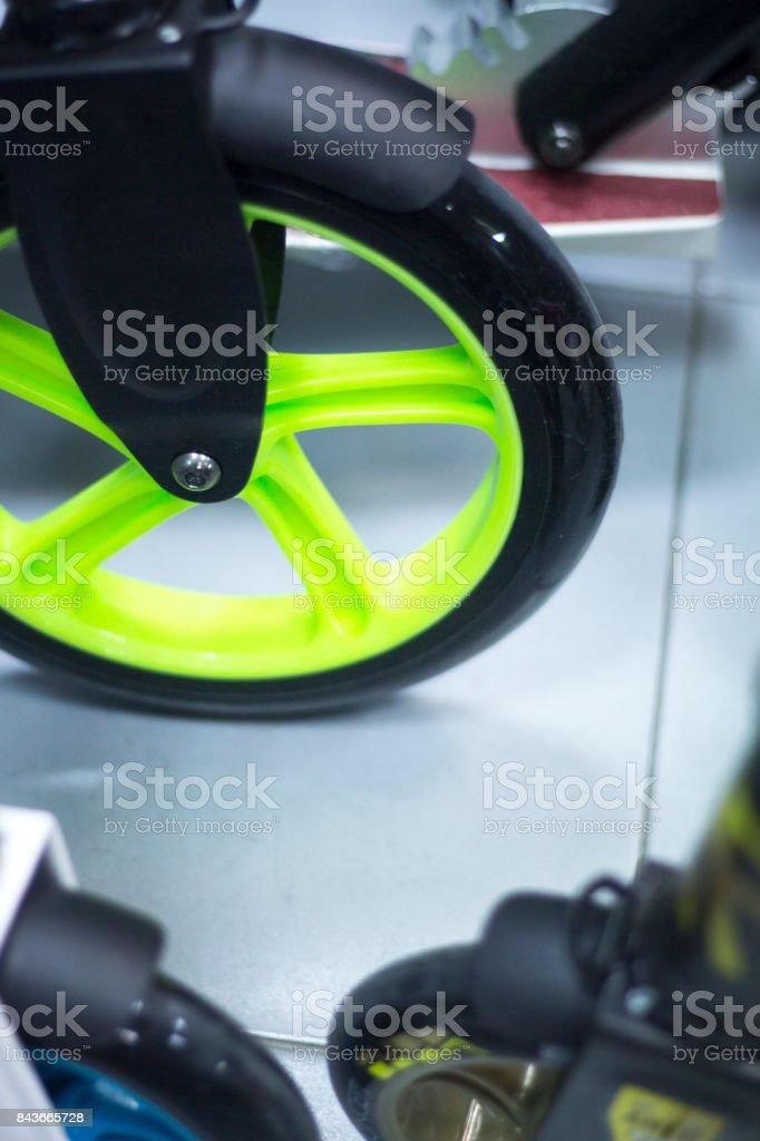 Skooters in retail skate skateboard store stock photo