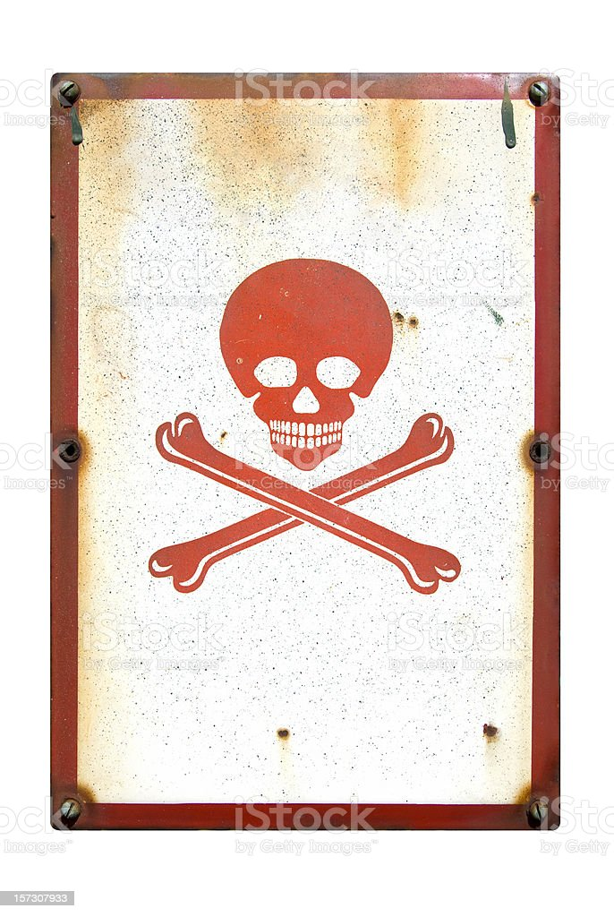 Skull and crossbones danger sign stock photo