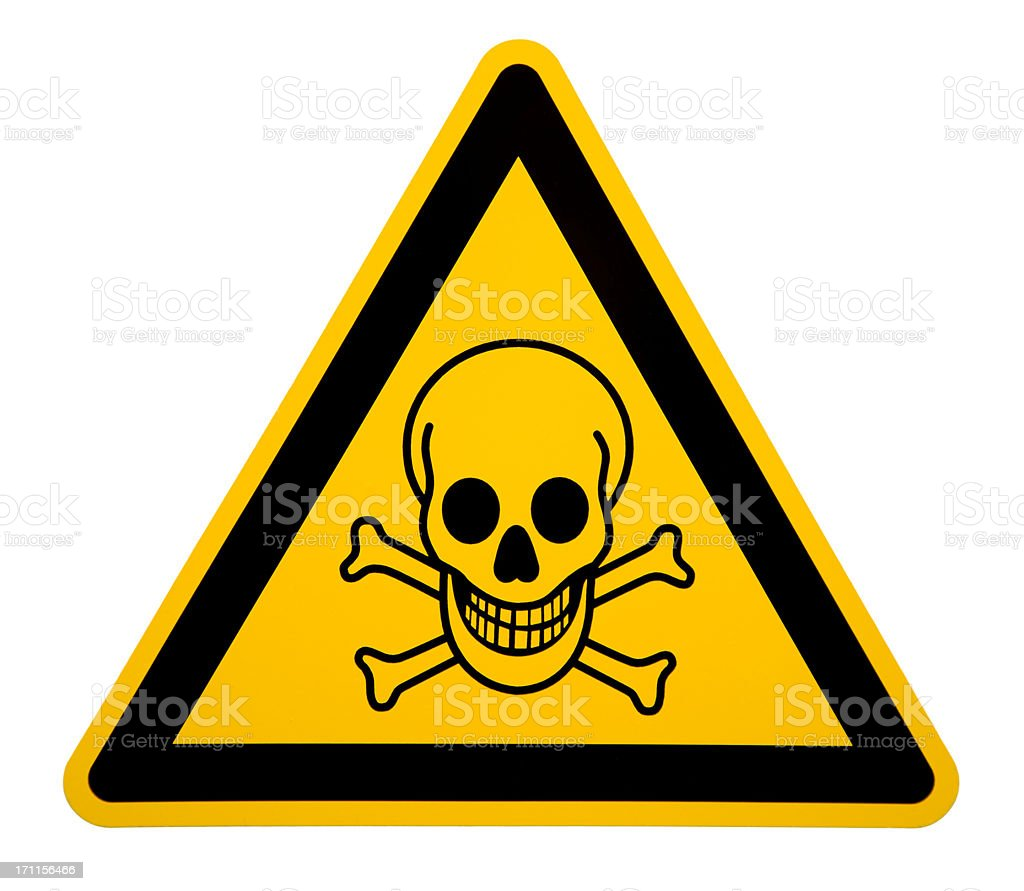 Skull and Crossbones Sign on White stock photo