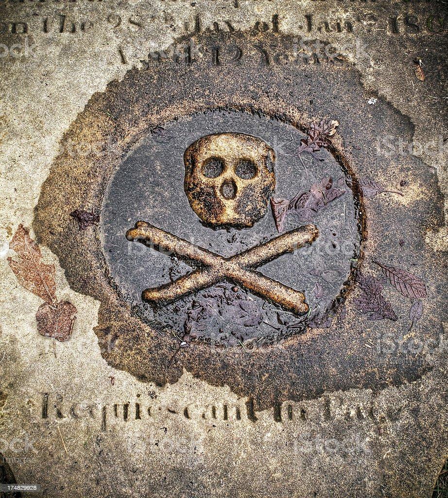 Skull and crossbones, stone tombstone stock photo
