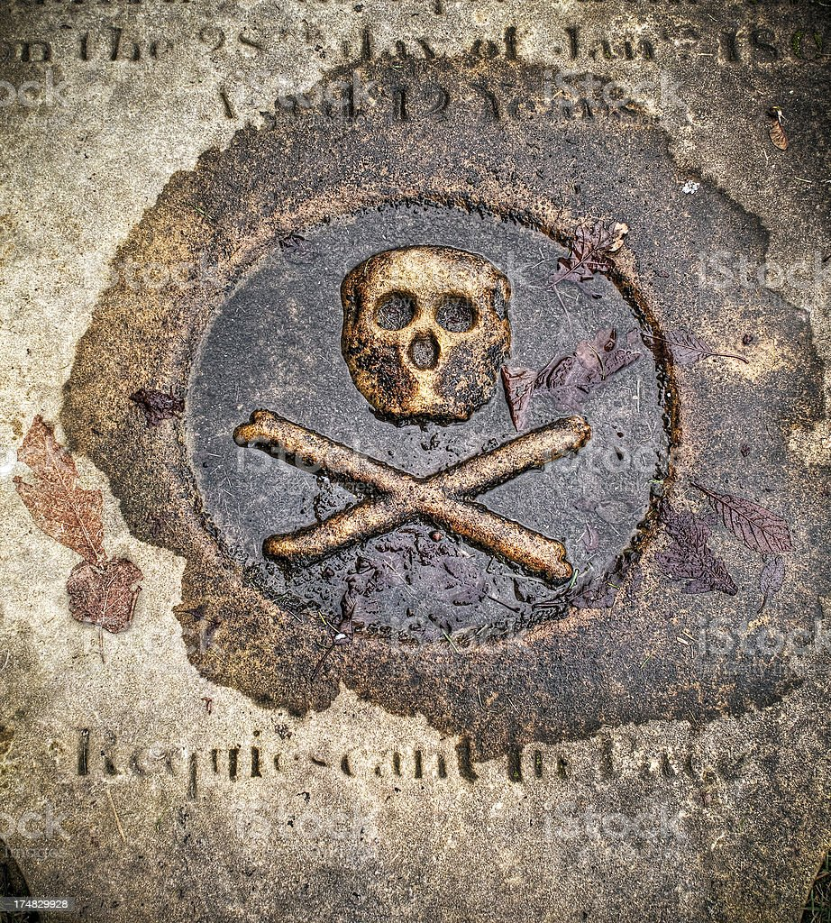 Skull and crossbones, stone tombstone stock photo