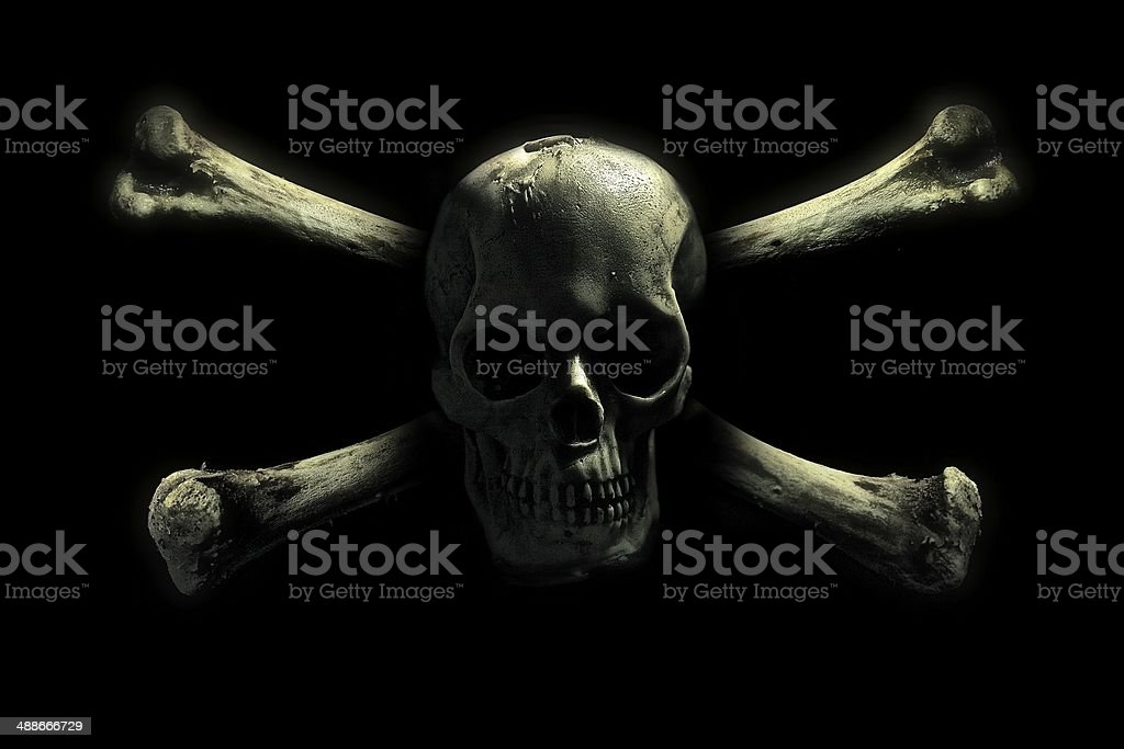 Skull and crossbones symbol stock photo