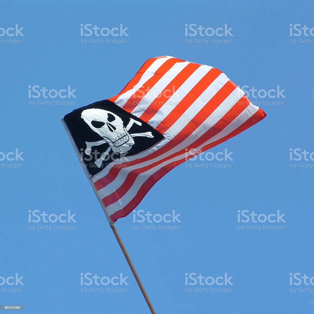 skull and crossbones USA flag - Piratenflagge kombiniert mit US-Flagge royalty-free stock photo