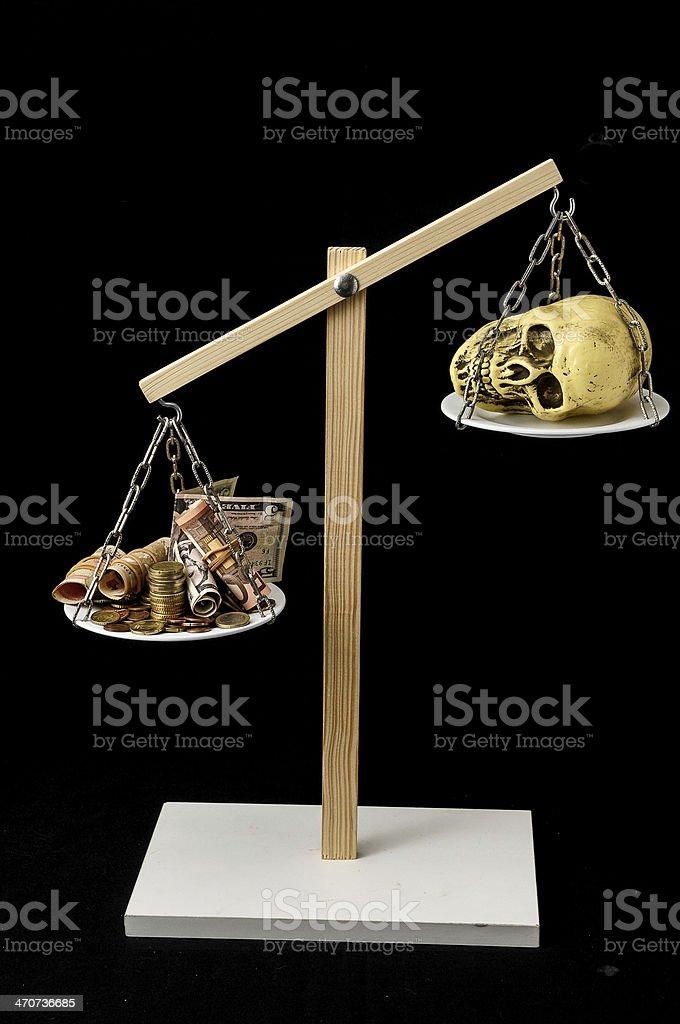 Skull and Money stock photo