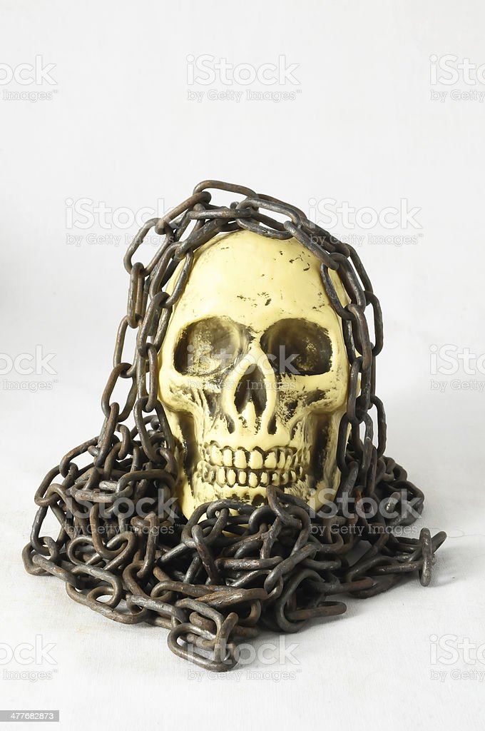 Skull and old Chains royalty-free stock photo