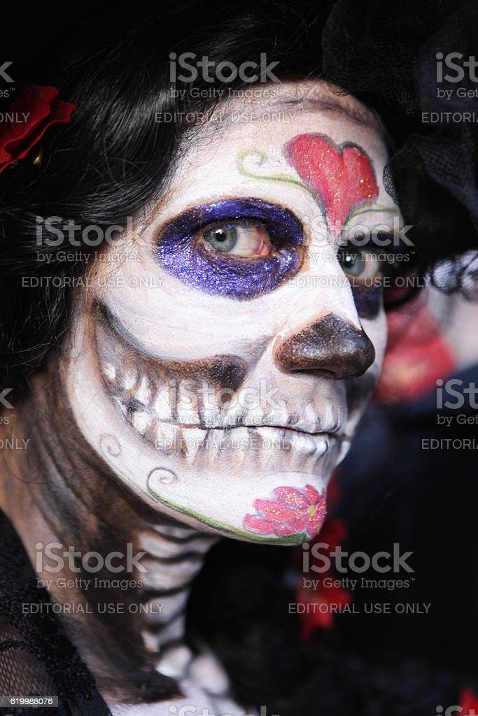 Skull Costume Face Dead Stare Catrina Calavera stock photo