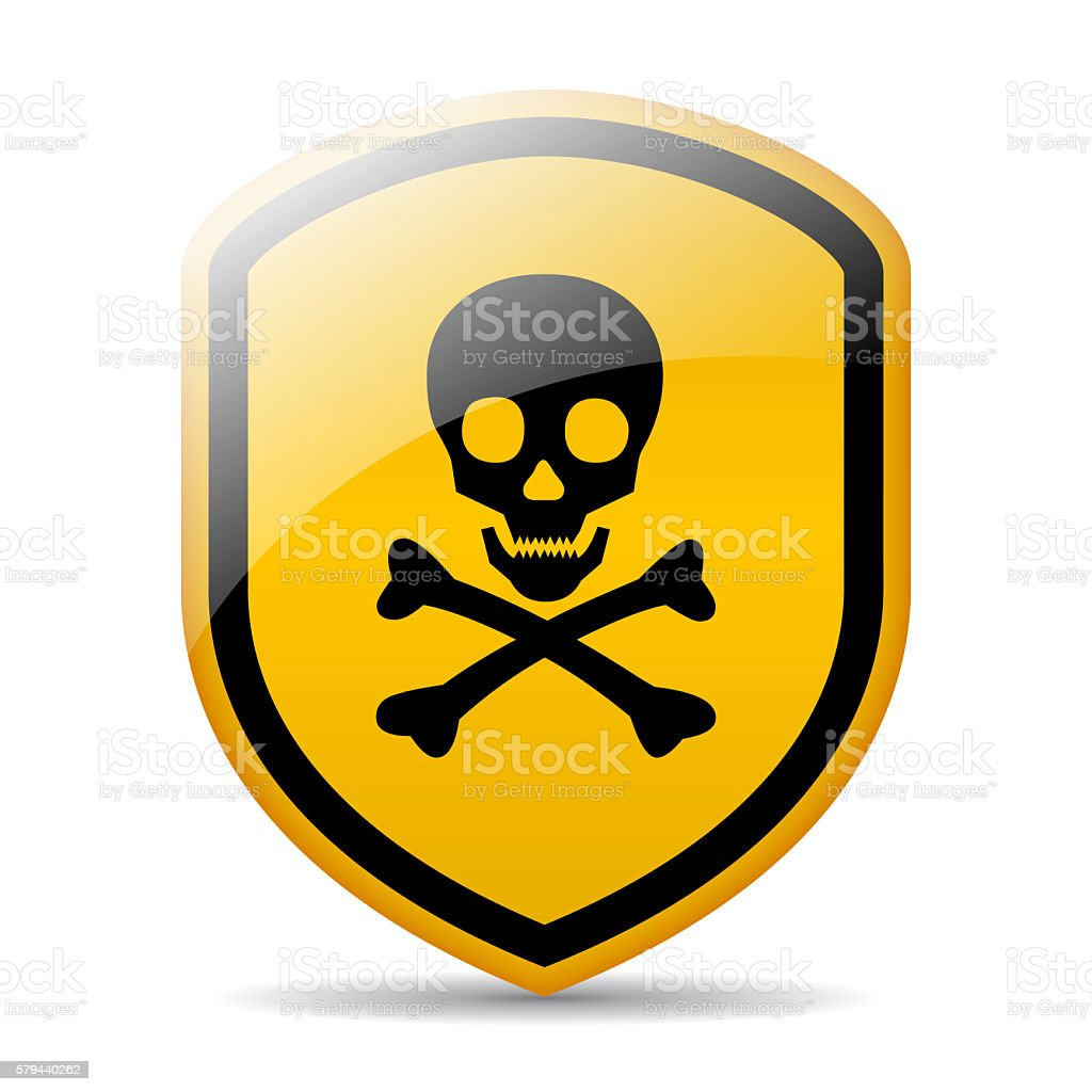 Skull danger shield sign vector art illustration