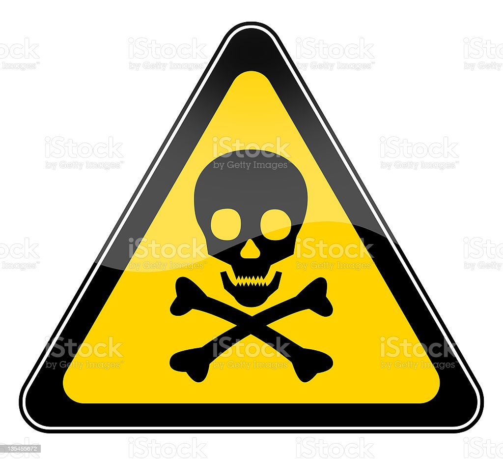 Skull danger sign in yellow triangle vector art illustration