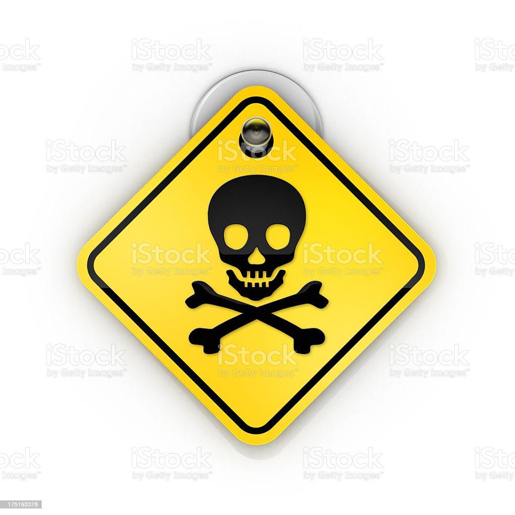 skull danger warning Sticky sign stock photo
