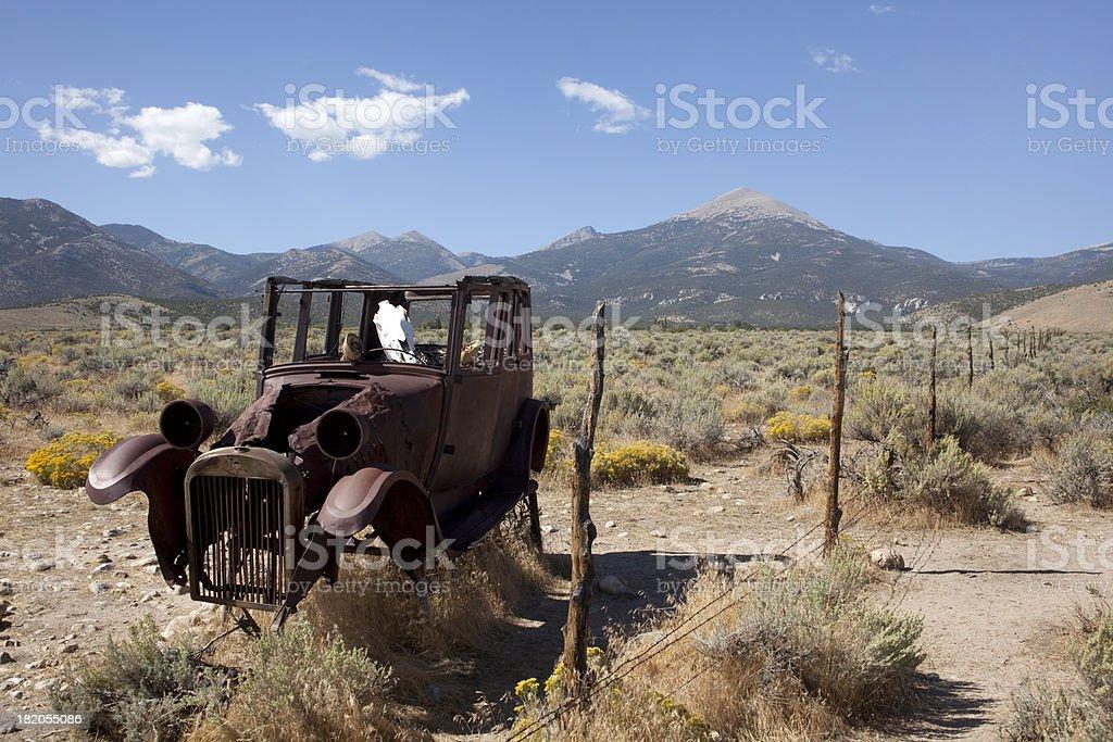 Skull driver with Wheeler Peak Nevada's Great Basin National Park stock photo