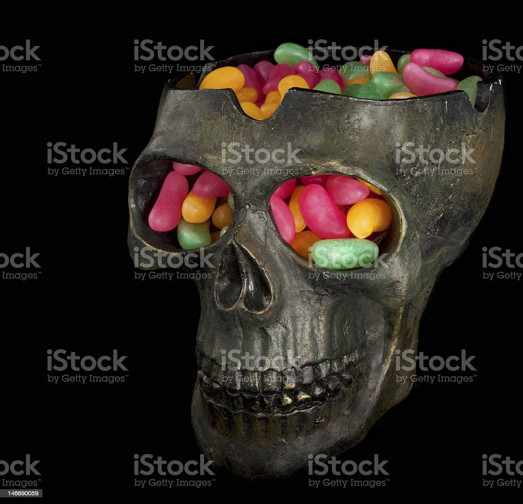 Skull filled with candy royalty-free stock photo