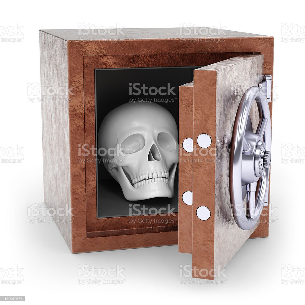 Skull in safe royalty-free stock photo