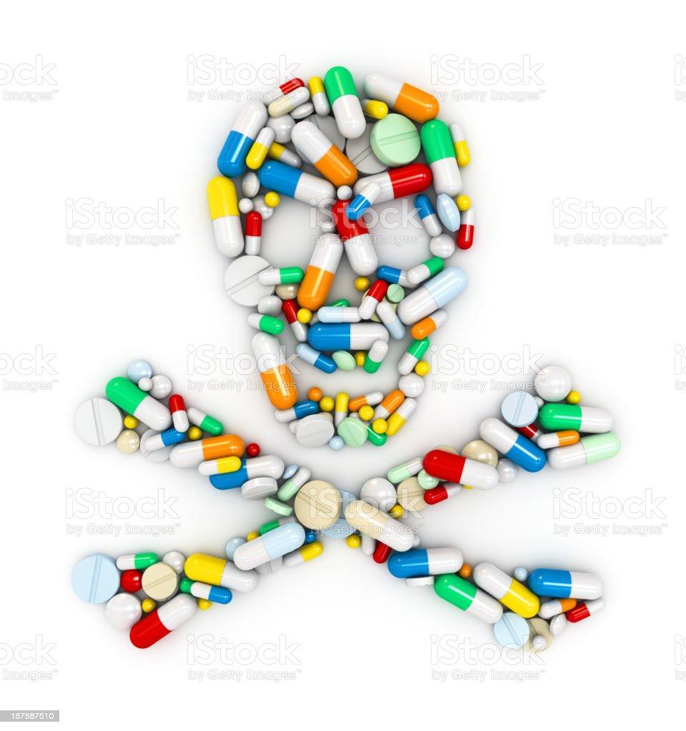 Skull of pills stock photo