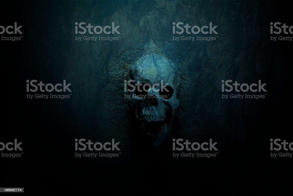Skull on Blue dark background stock photo
