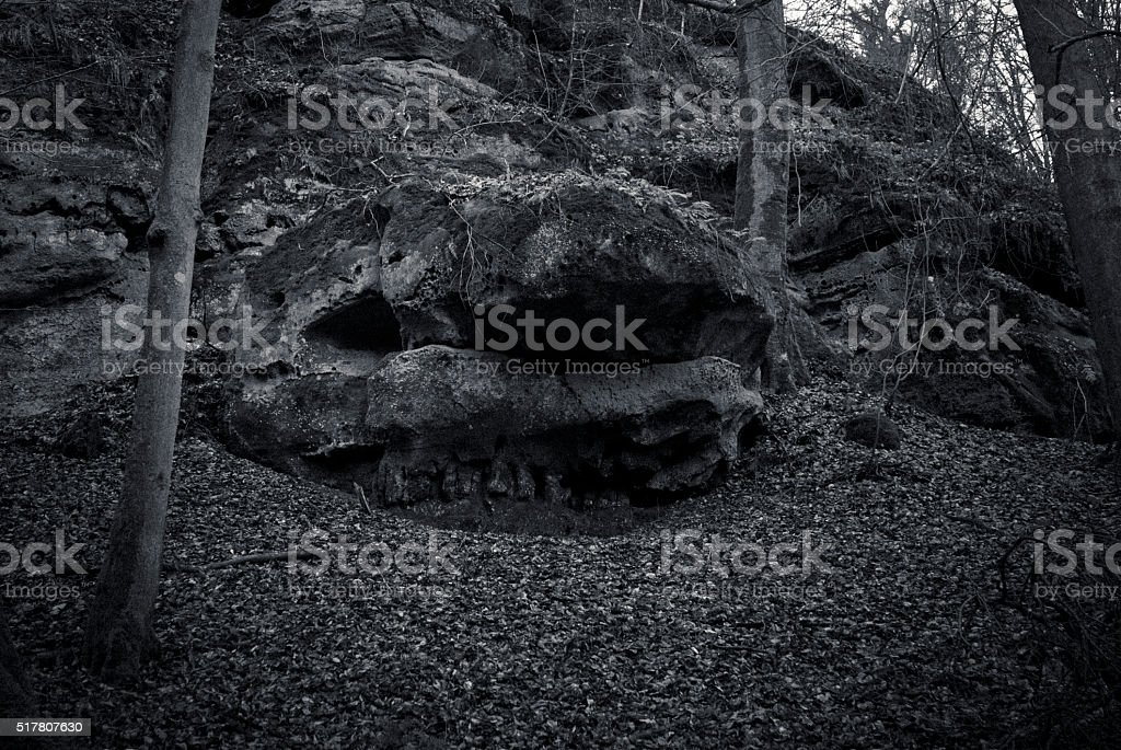Skull rock in black and white stock photo