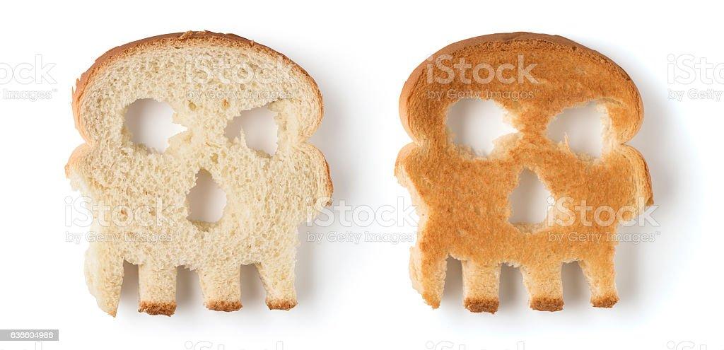 skull shaped slices of bread stock photo